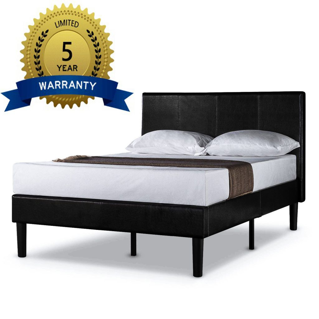 5-year limited warranty Zinus Deluxe Faux Leatherplatfrom bed