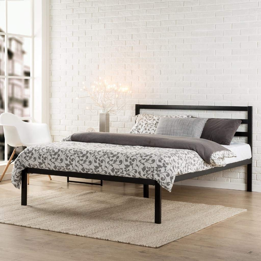 Platform bed frame with headboard zinus modern studio 1500H