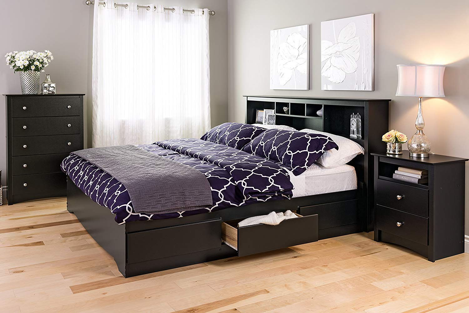Black Sonoma 5 Drawer Chest in the bedroom look