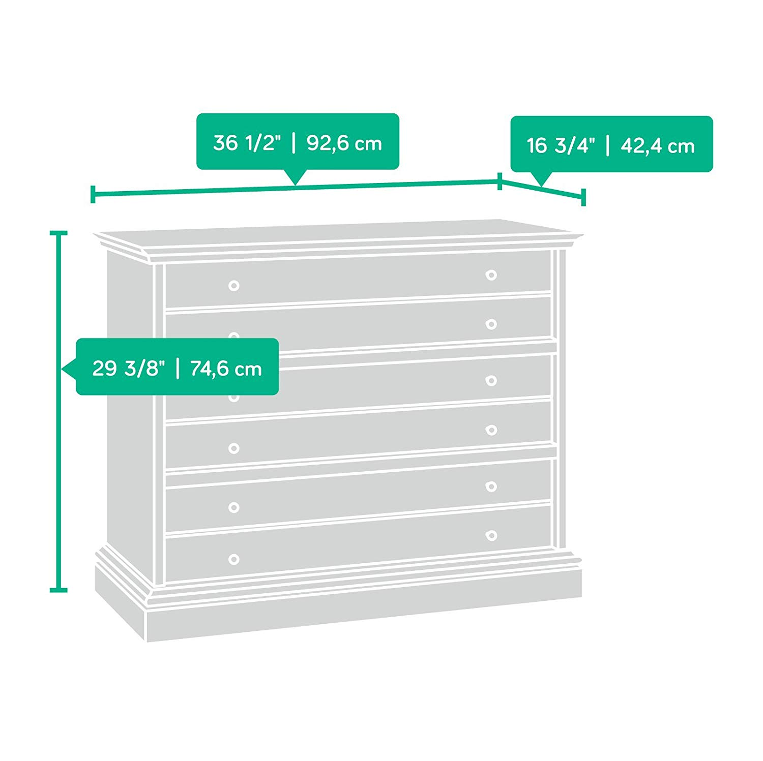 Sauder 418702 3 Bedroom Chest Of Drawers Dimension