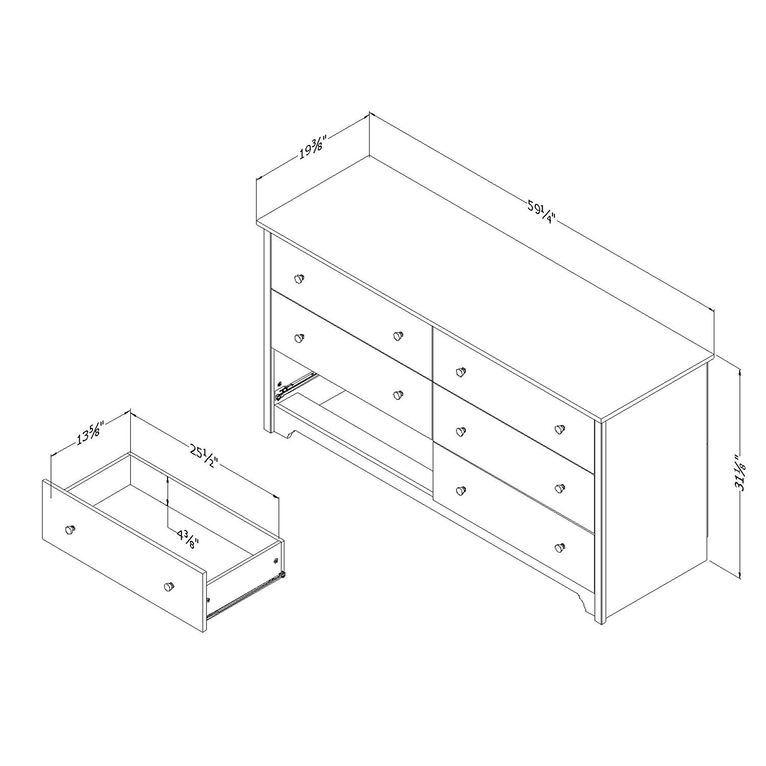 South Shore 6-Drawer Double Dresser diamension