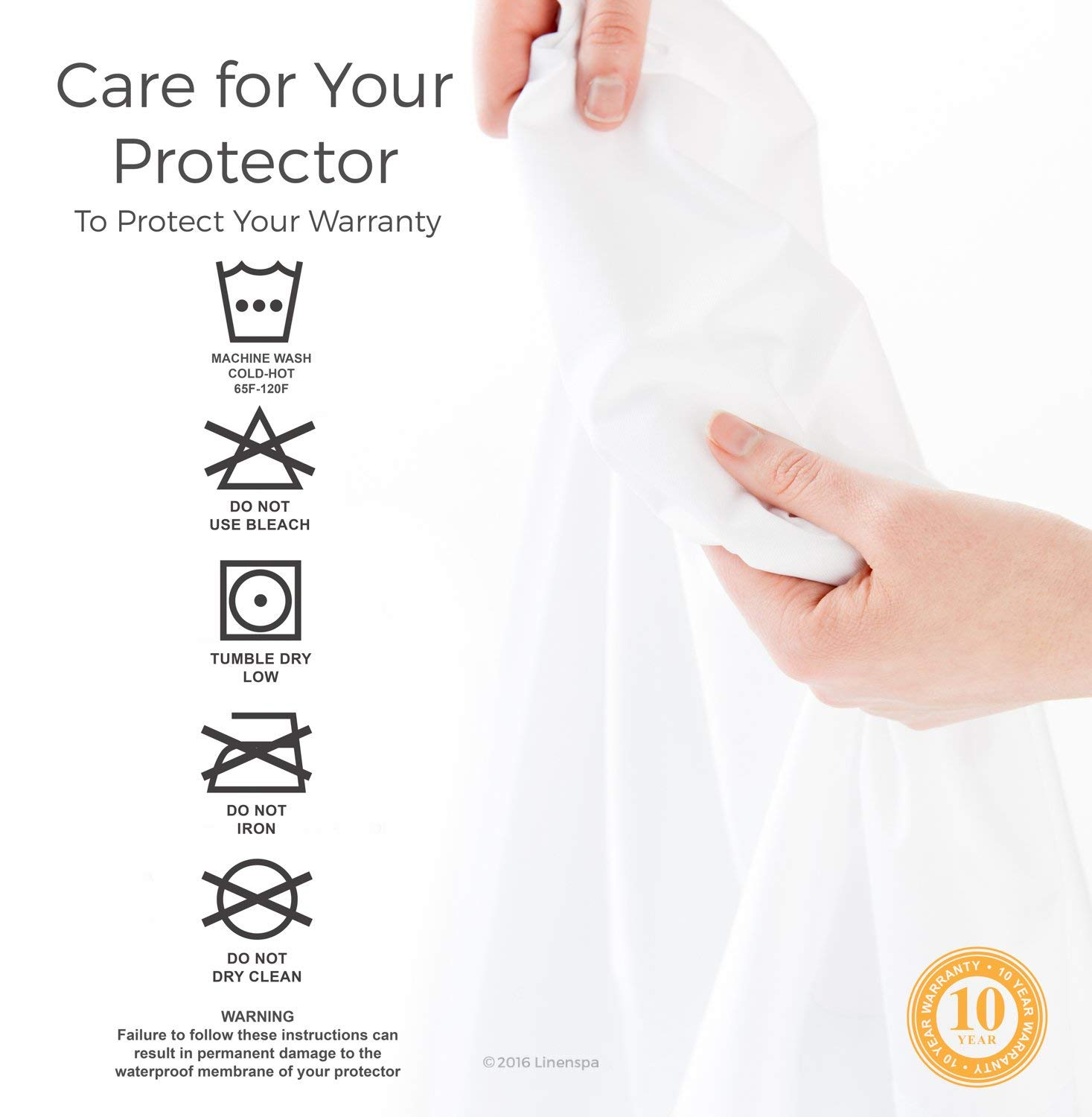 10 years warranty of Linenspa Mattress Protector