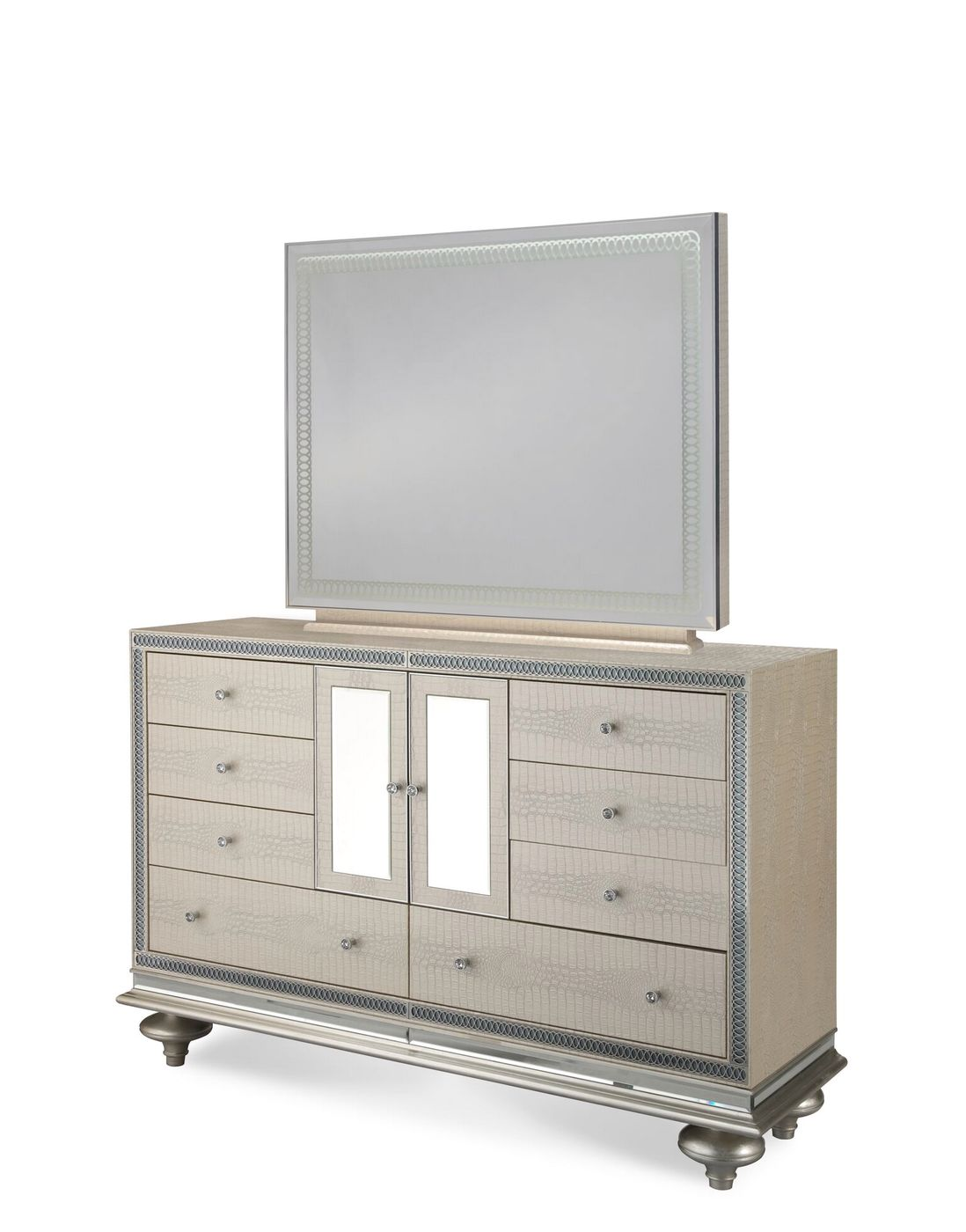 Aico Hollywood swank wing back beige leather with creamy-pearl finish
