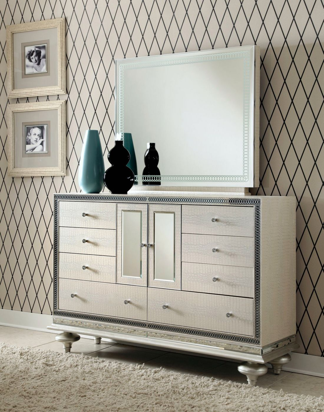 Dresser with Mirror hollywood-swank-luxury sets