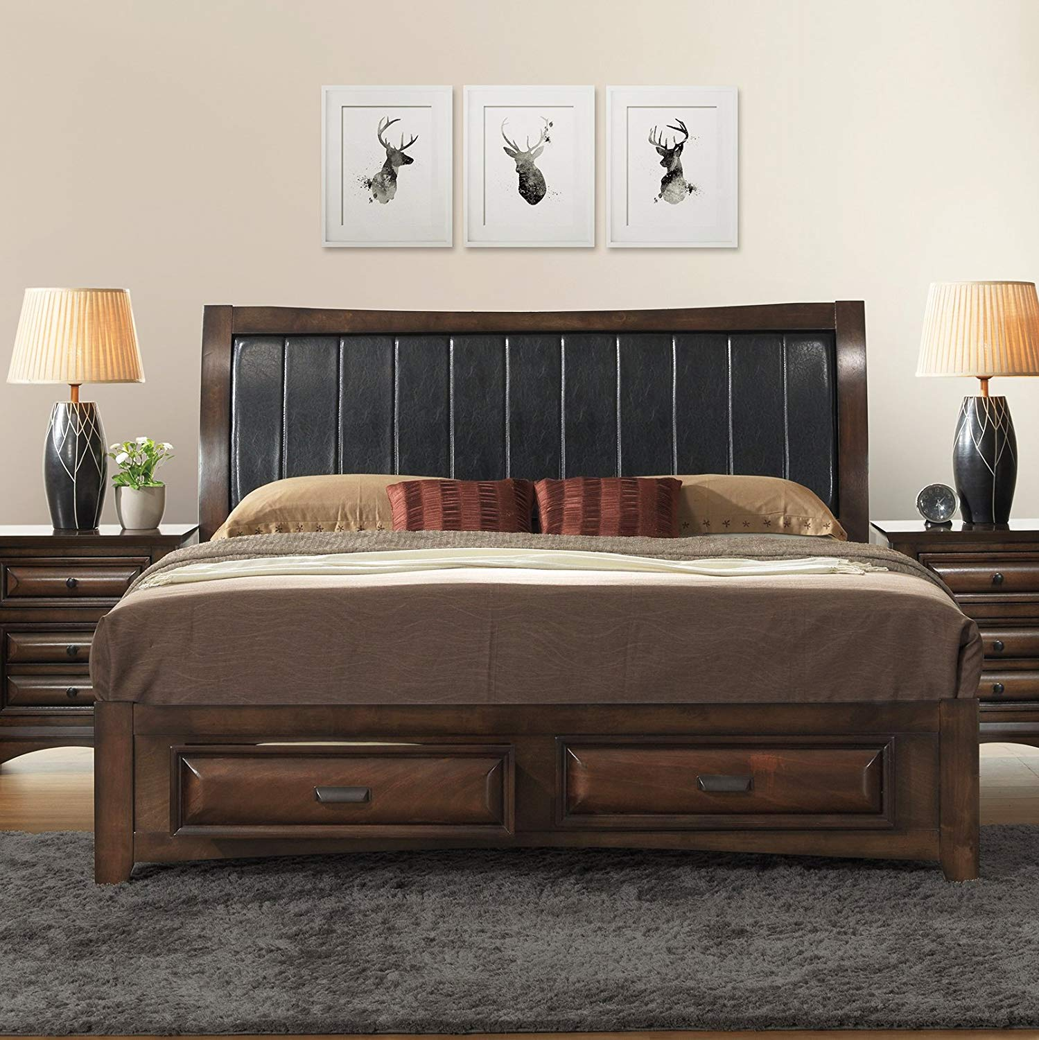 Queen Platform Storage Bed with 2 Drawers