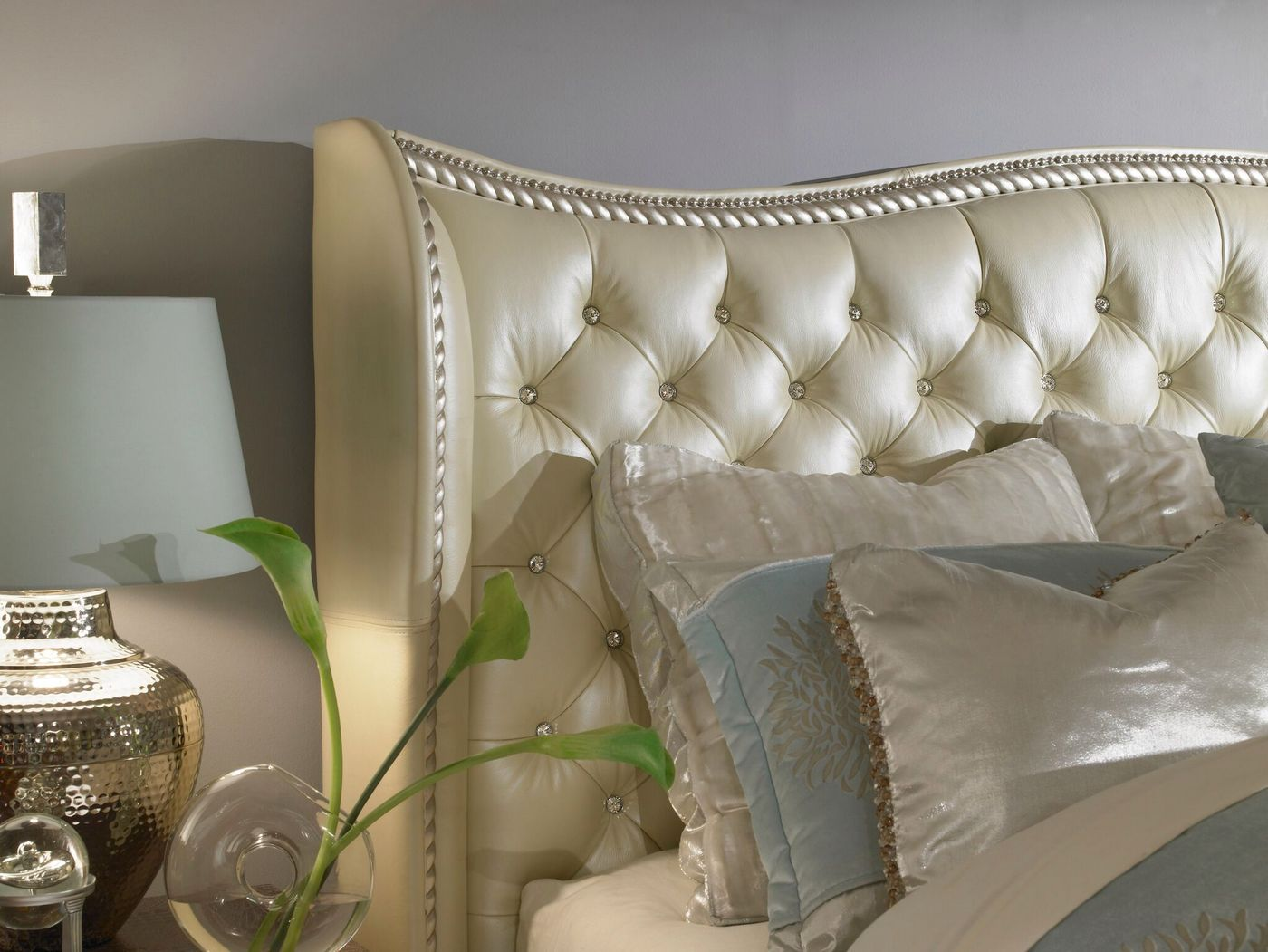 creamy pearl and metallic graphite upholstery headboard with a gentle arch