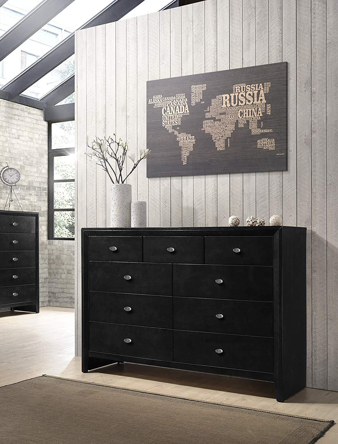 9 Drawers with Dresser Gloria Black Finish Wood dresser