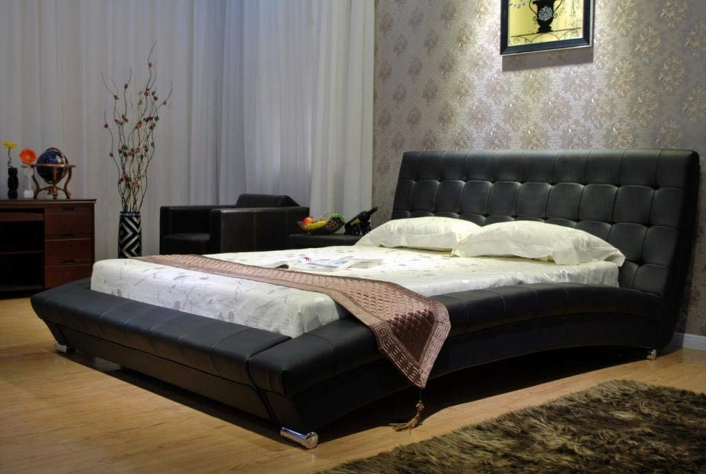 Black Modern leatherette Platform Bed by GREATIME