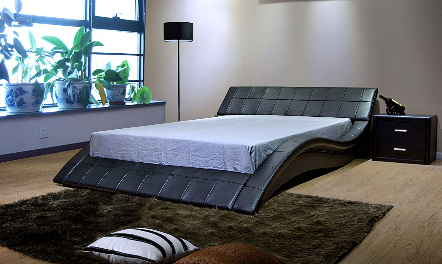 Contemporary Wave-Like Shape Platform Bed by GREATIME