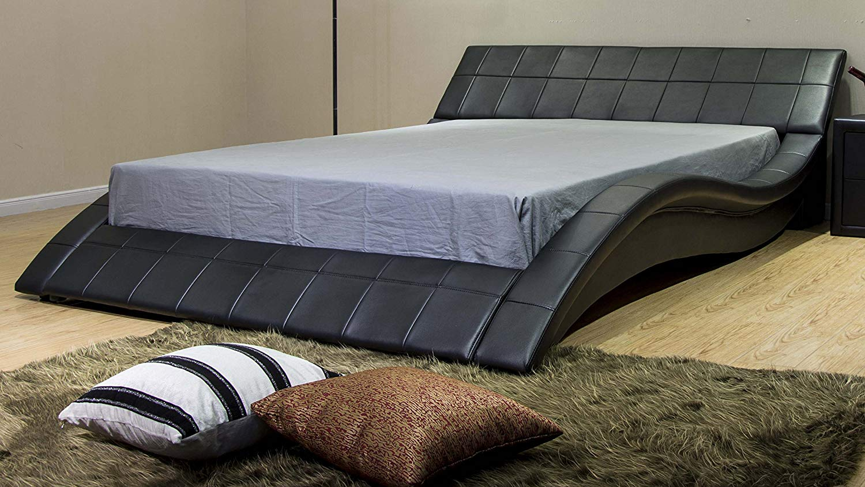 Contemporary Wave-Like Shape Platform Bed frame
