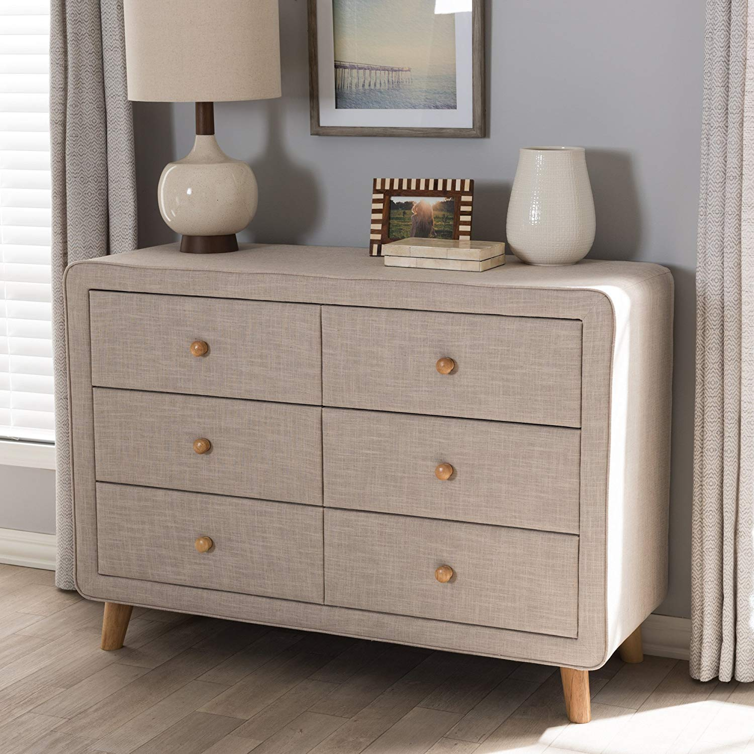 Mid-Century Beige Linen Upholstered 6-Drawer Dresser in bedroom