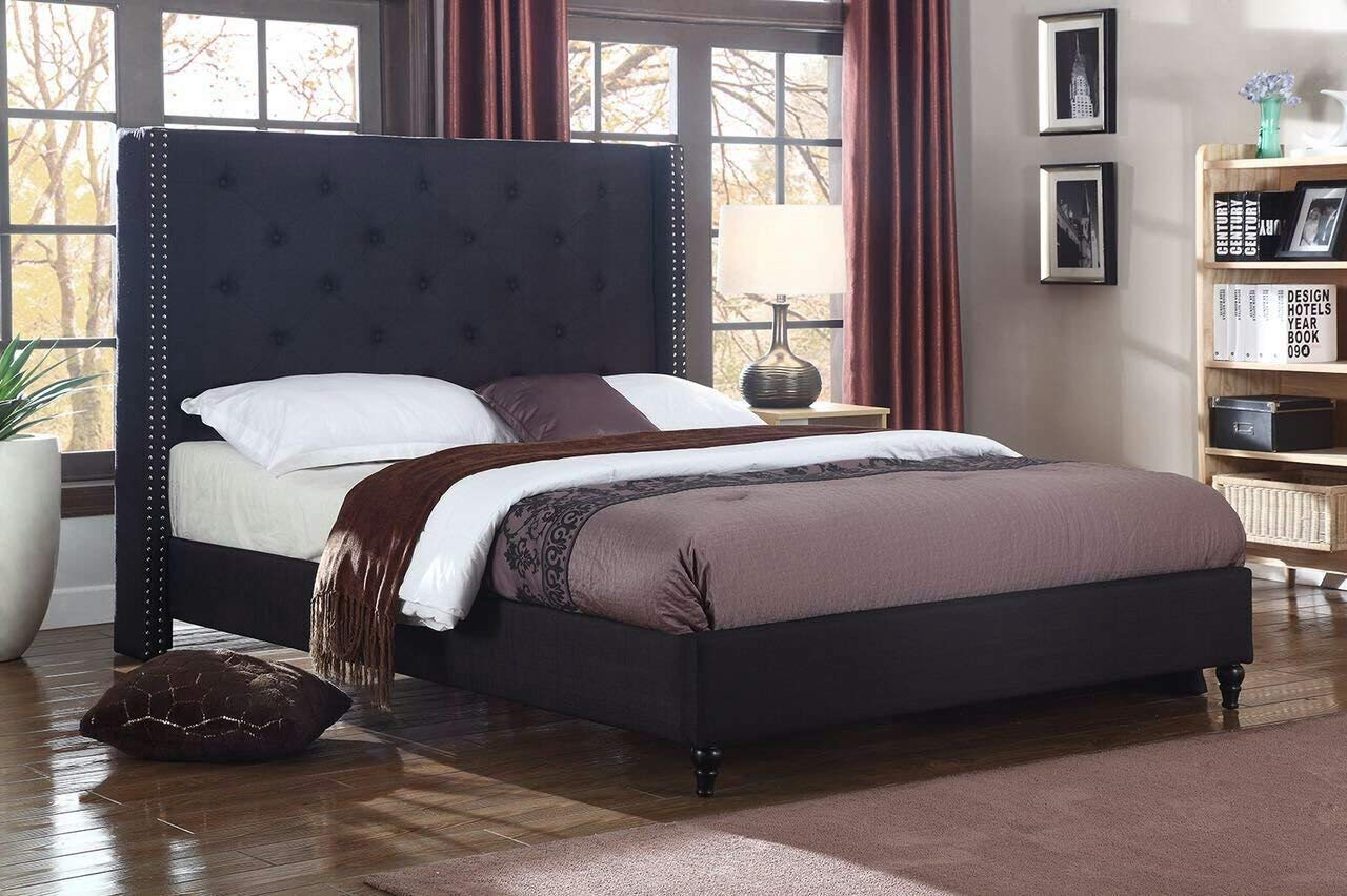 Platform bed with tall headboard