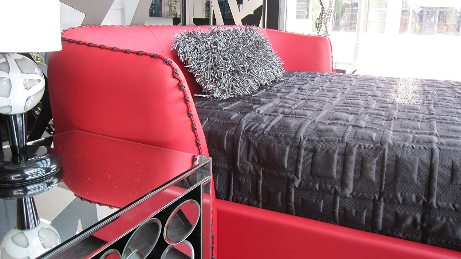 Red color Romantic Bed Frame