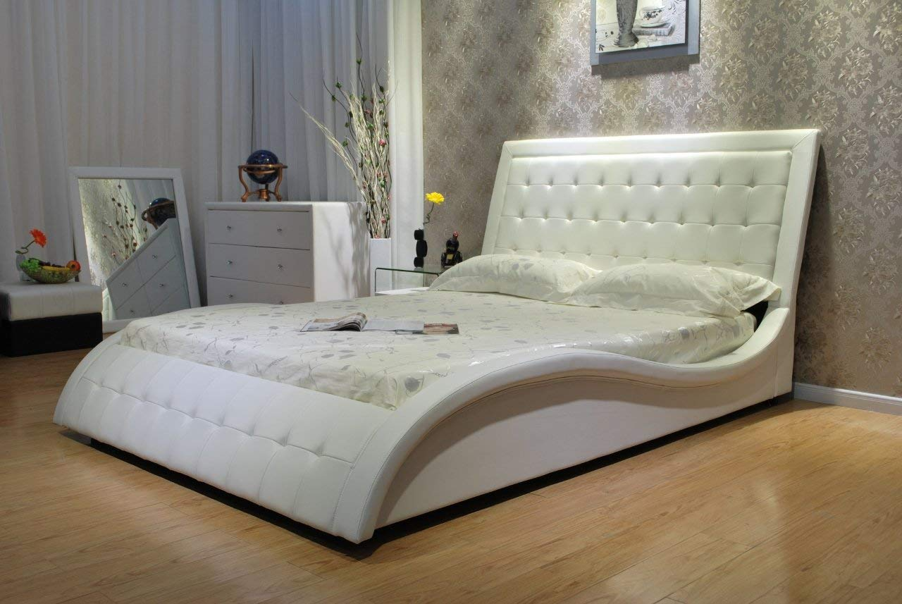 Wave-Shape High quality Faux Leather Platform Bed by GREATIME