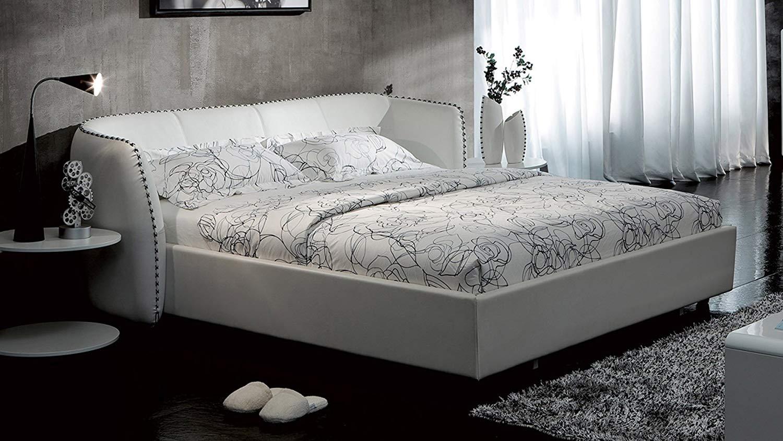 White Microfiber Leather Platform Bed