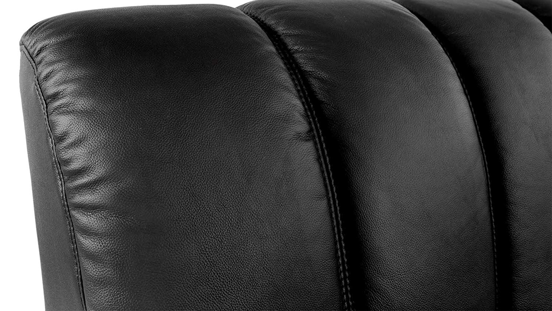 grain black aniline dyed leather in headboard