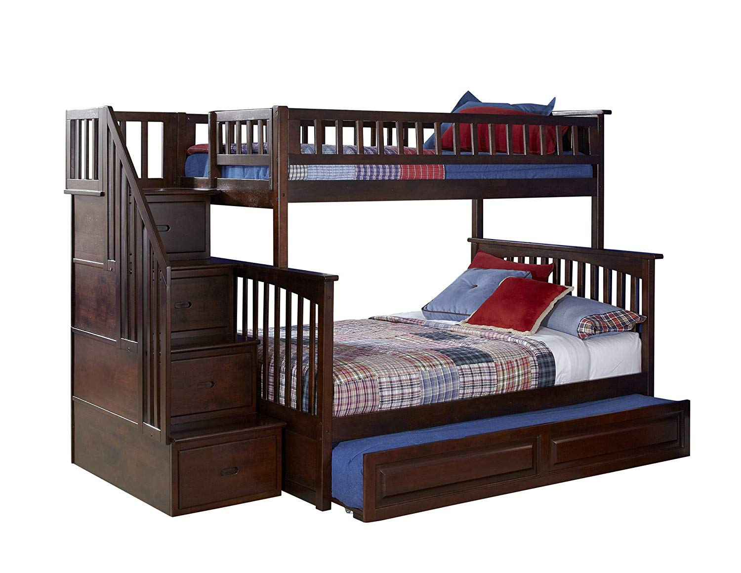 Columbia Staircase Twin Over Full Bunk Bed with Trundle Bed