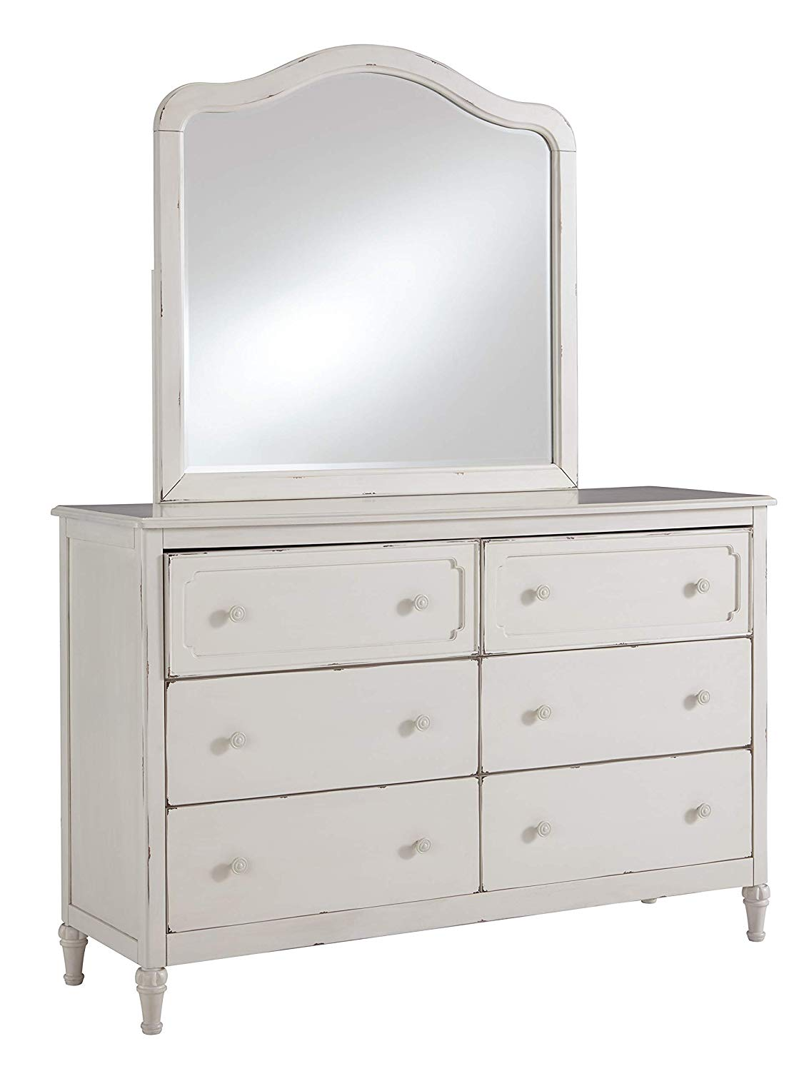 Luxury White Wood Dresser with Mirror