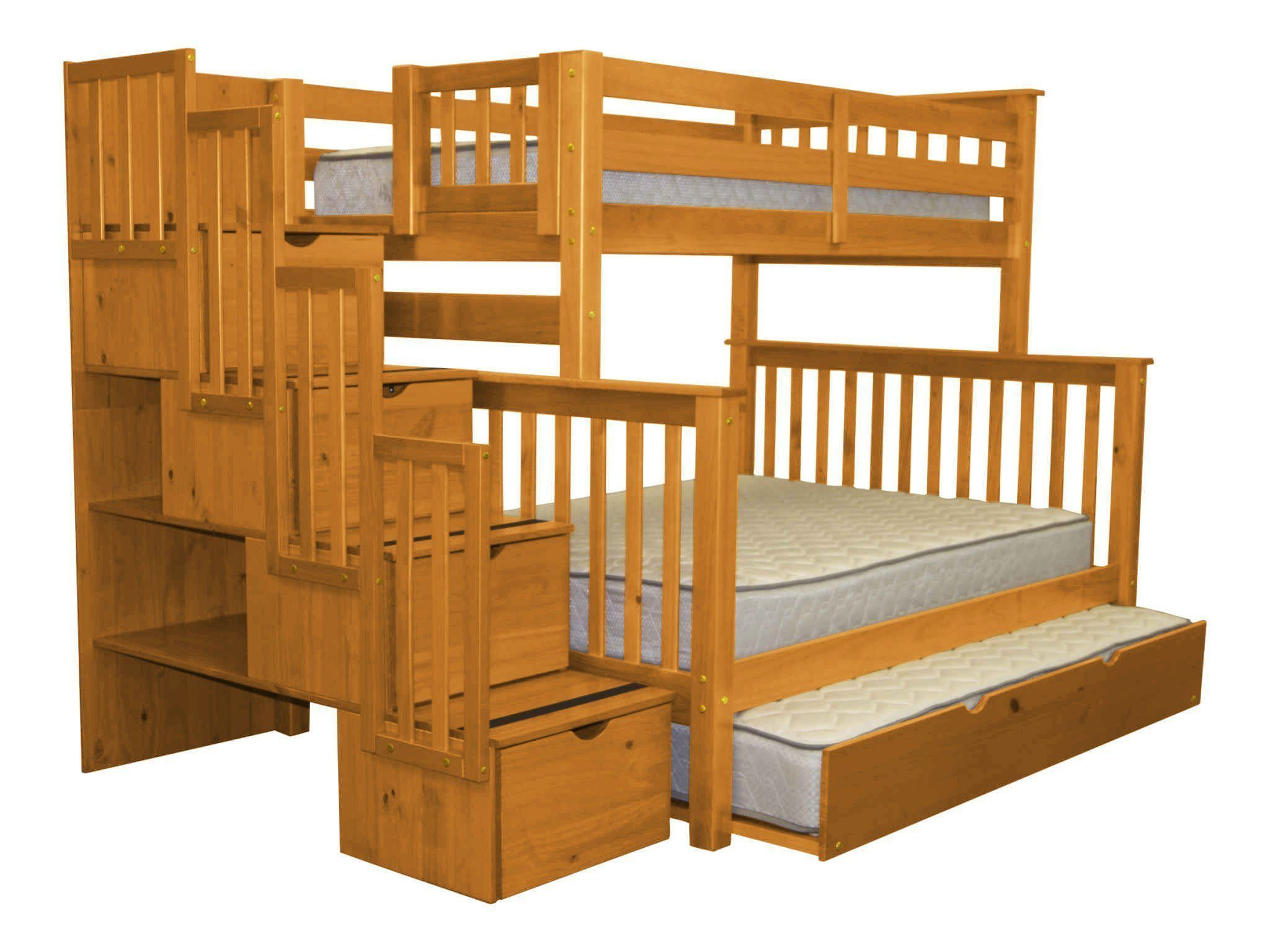 Twin Over Full Stair Bed with 4 Drawers Storage By Bedz King