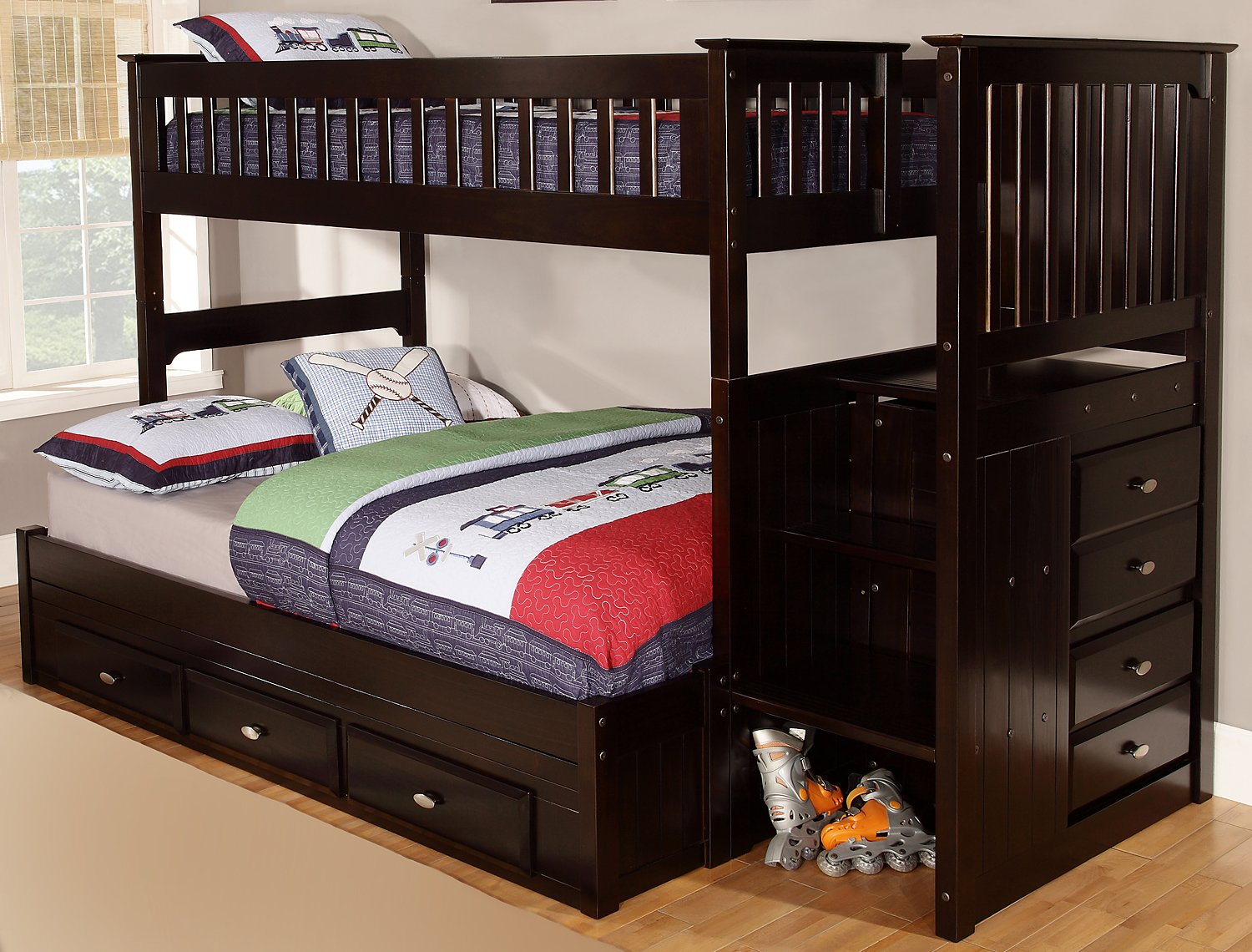 Twin Over Full Staircase Bunk Bed with Twin Trundle