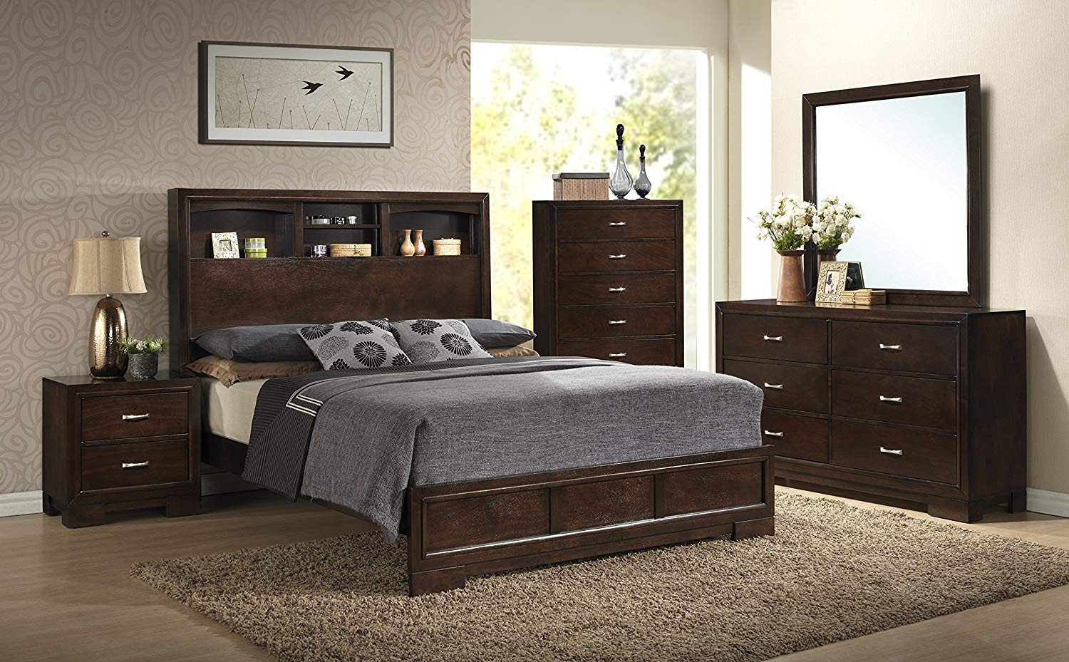 Roundhill Furniture 5 piece bedroom set queen