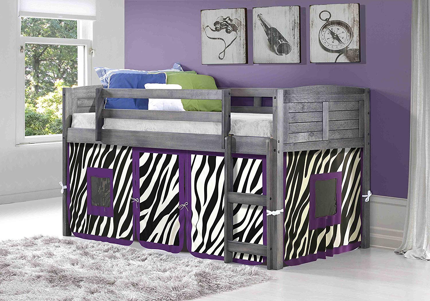 Twin loft bed with zebra tent fabric