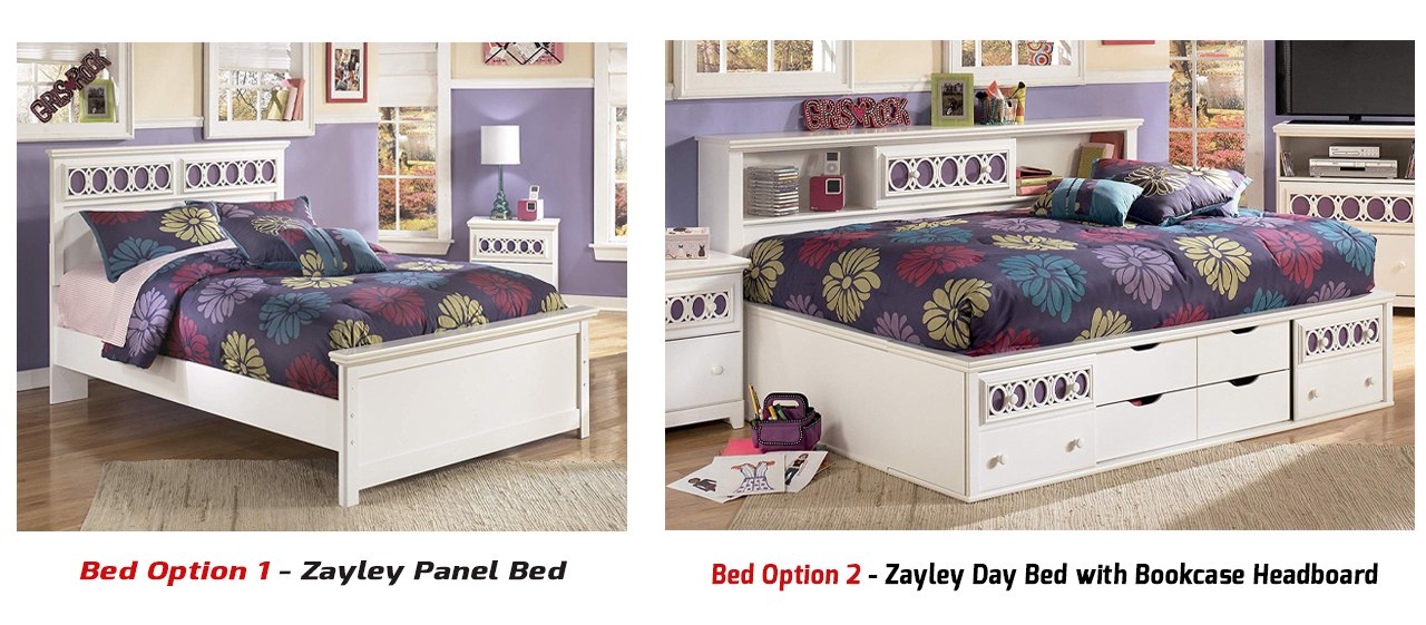 Two Bed Option Between Panel bed and Storage Daybed