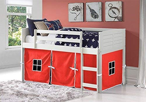 white twin loft bed with red tent fabric