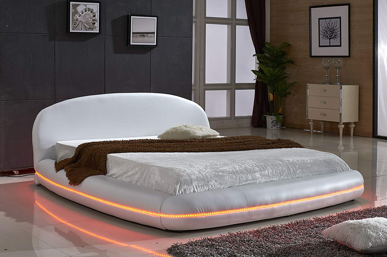 US Pride Furniture White Leather with Flexible LED Decoration Strip Light