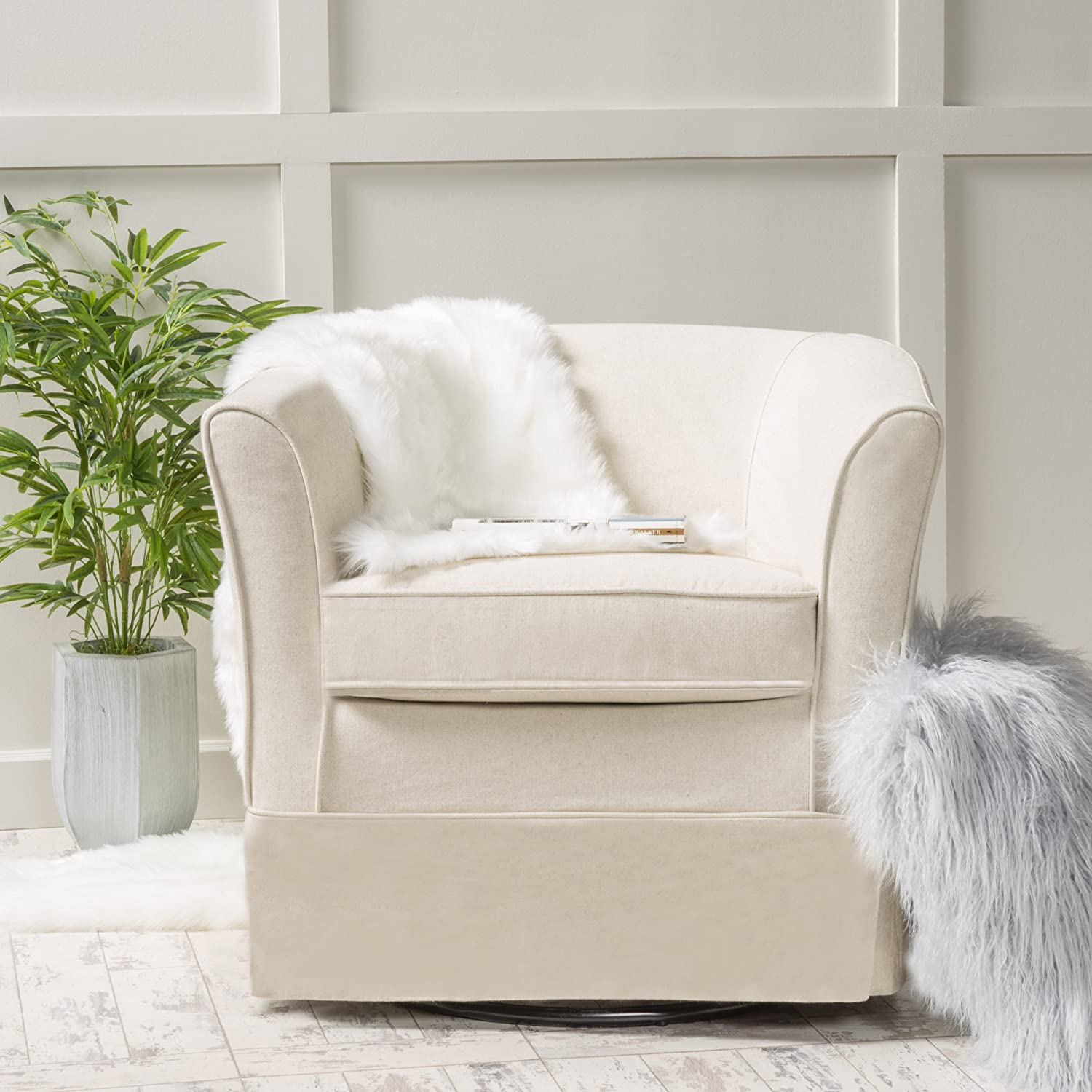 Cecilia Swivel Natural Fabric Chair with Loose Cover by Christopher Knight Home
