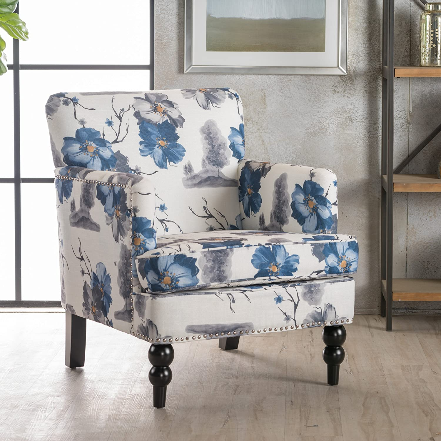 Floral Printed Boaz Fabric Club Chair by Christopher Knight Home